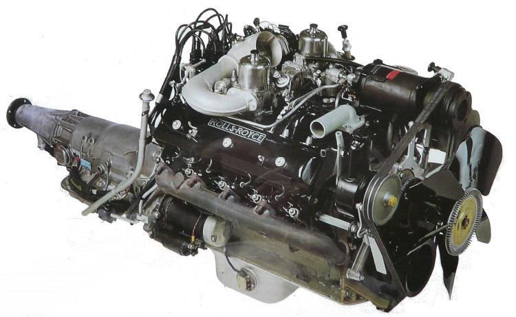 Den outslitliga Rolls Royce-åttan med centralt placerade kamaxlar. Här i ett utförande på 6.2 liter från tidigt 60-tal. 1968 ökades volymen till 6.75 liter vilket den har än idag.